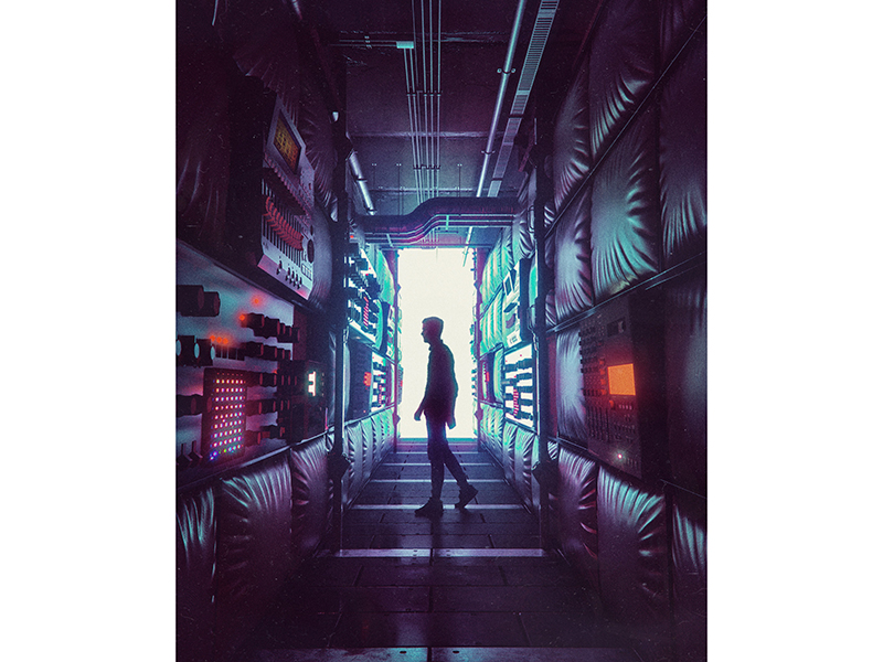 An artwork of a man amongst IT cables by Beeple