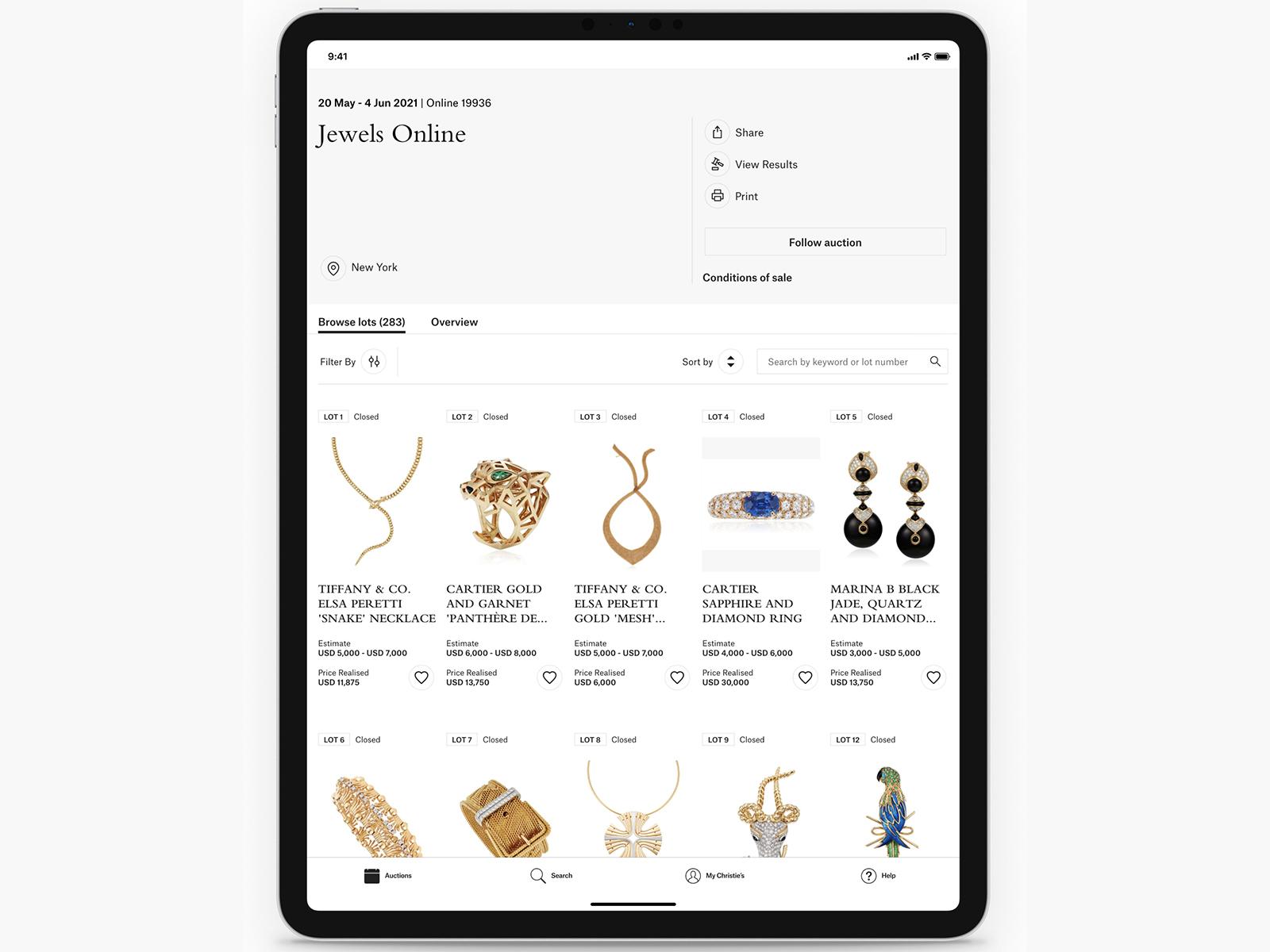 The Christie's app open on an iPad