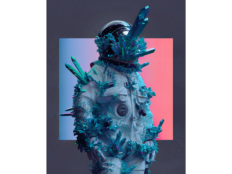 An astronaut covered in crystals, one of the digital images from Beeple's work of art