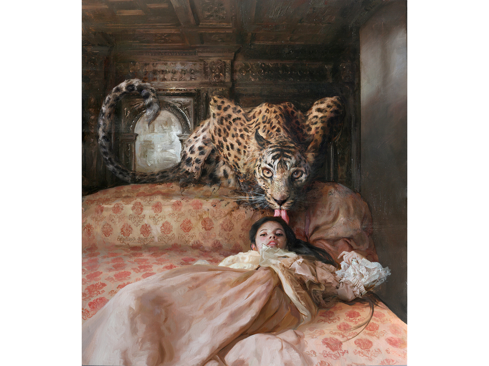 a Cama Inglesa, an oil painting by Guillermo Lorca