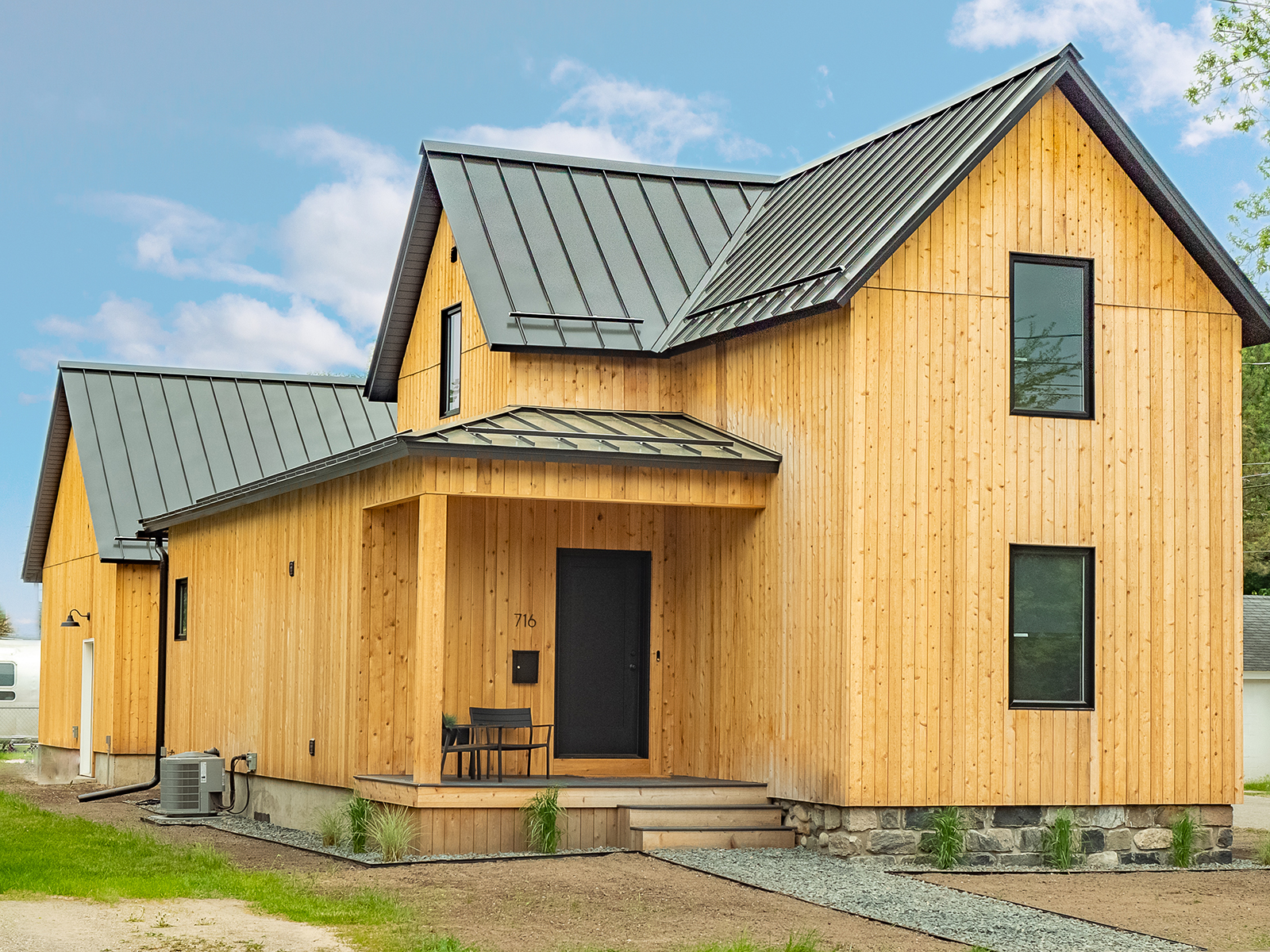 A wooden clad home in Traverse City
