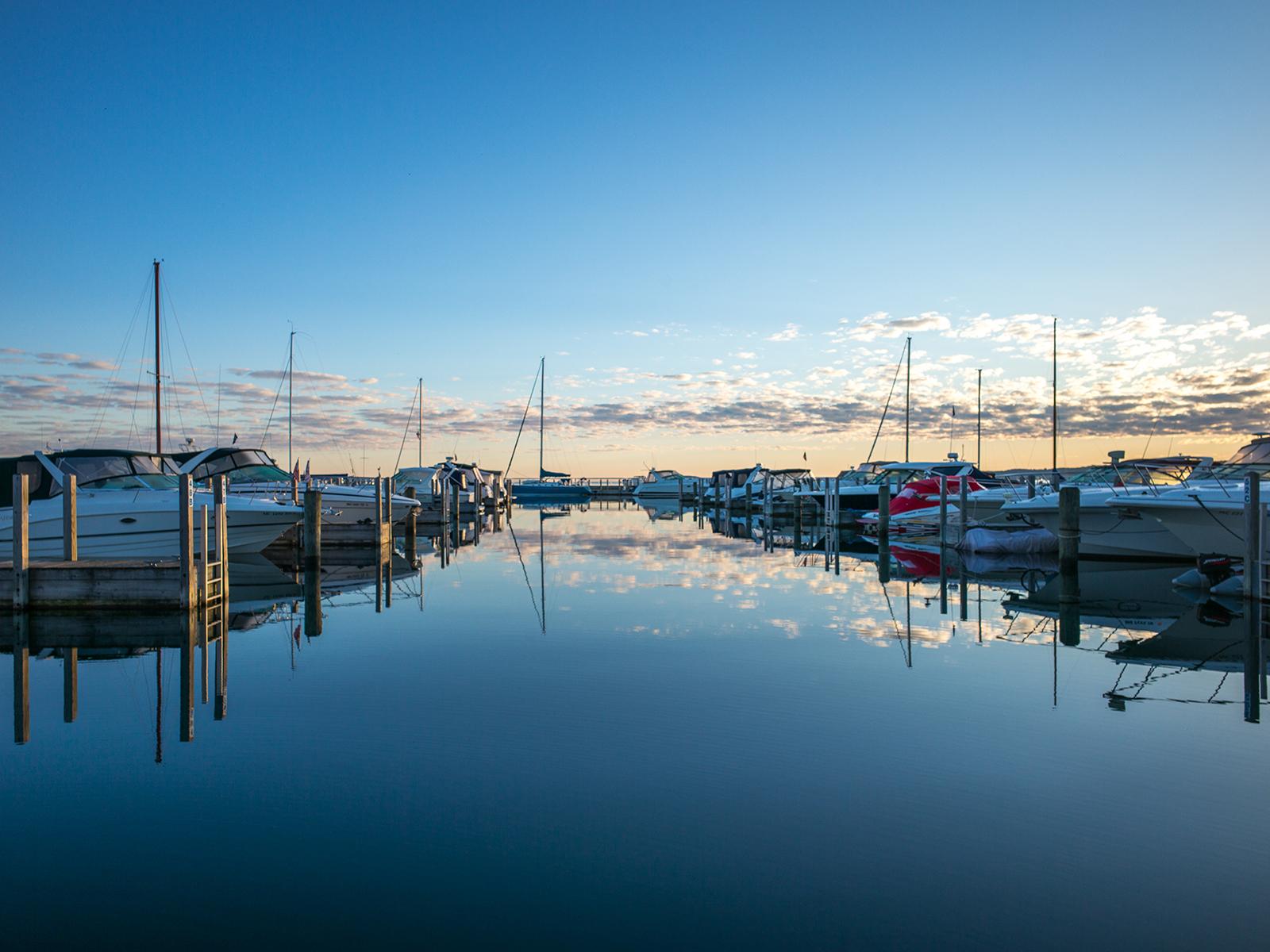 Sunrise over Traverse City Harbor