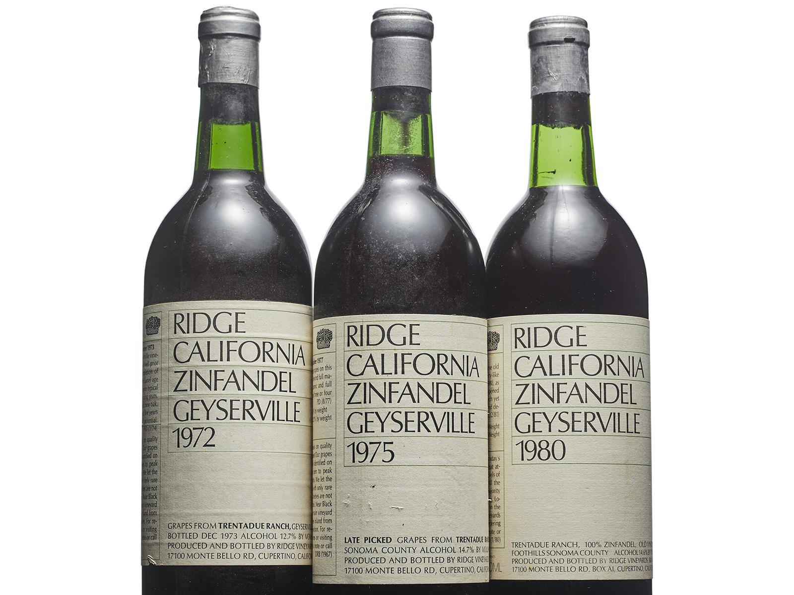 Three bottles of Ridge Vineyards Zinfandel