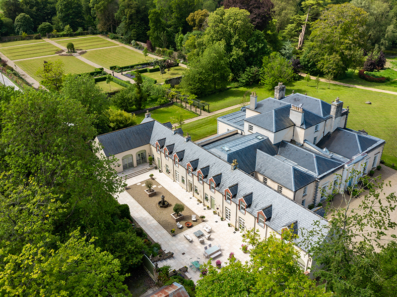 An aerial view of Kilmurry House, a country manor in Ireland