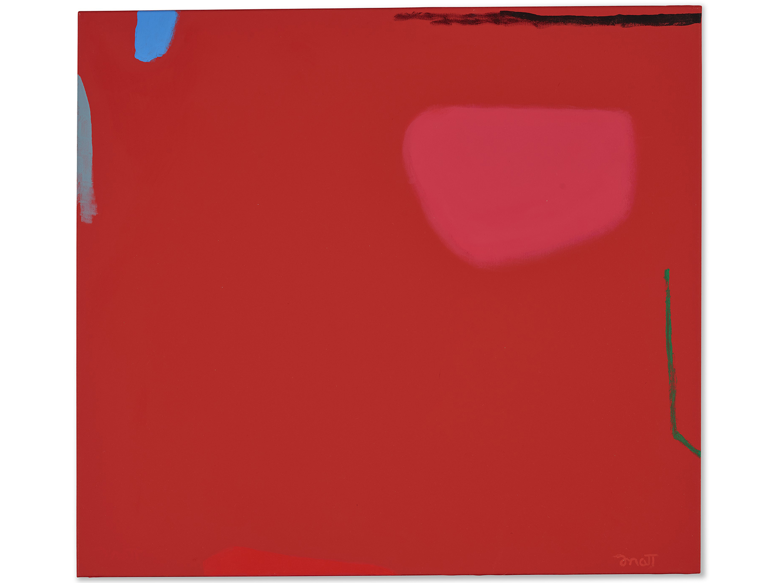 A red Color Field painting with a small green line by Dorothy Fratt