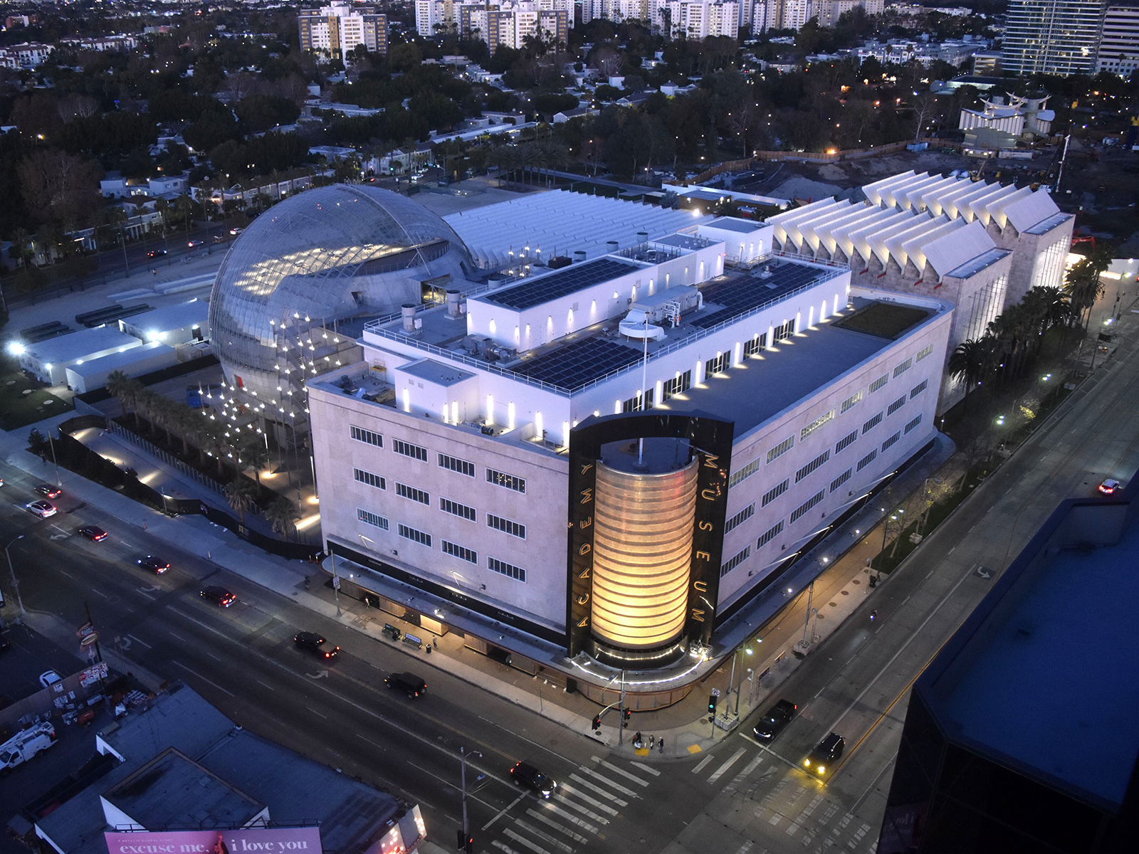 An aerial view of The Academy Museum of Motion Pictures