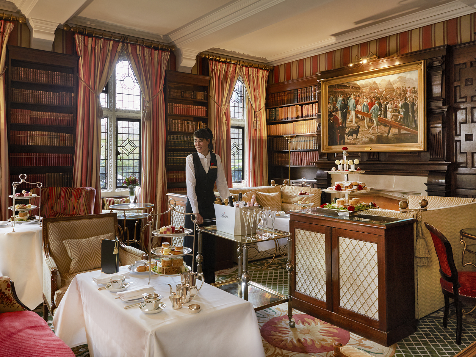 The Park Lounge in The Milestone Hotel set for afternoon tea