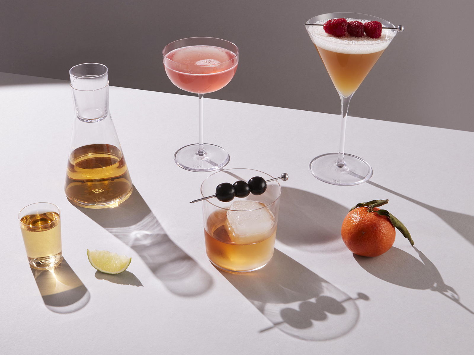 A selection of cocktail glasses