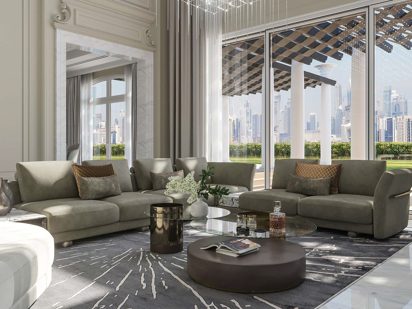 A luxurious living room with view of Dubai city skyline