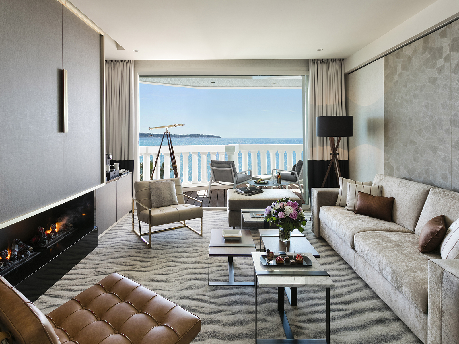 A hotel room with sea view