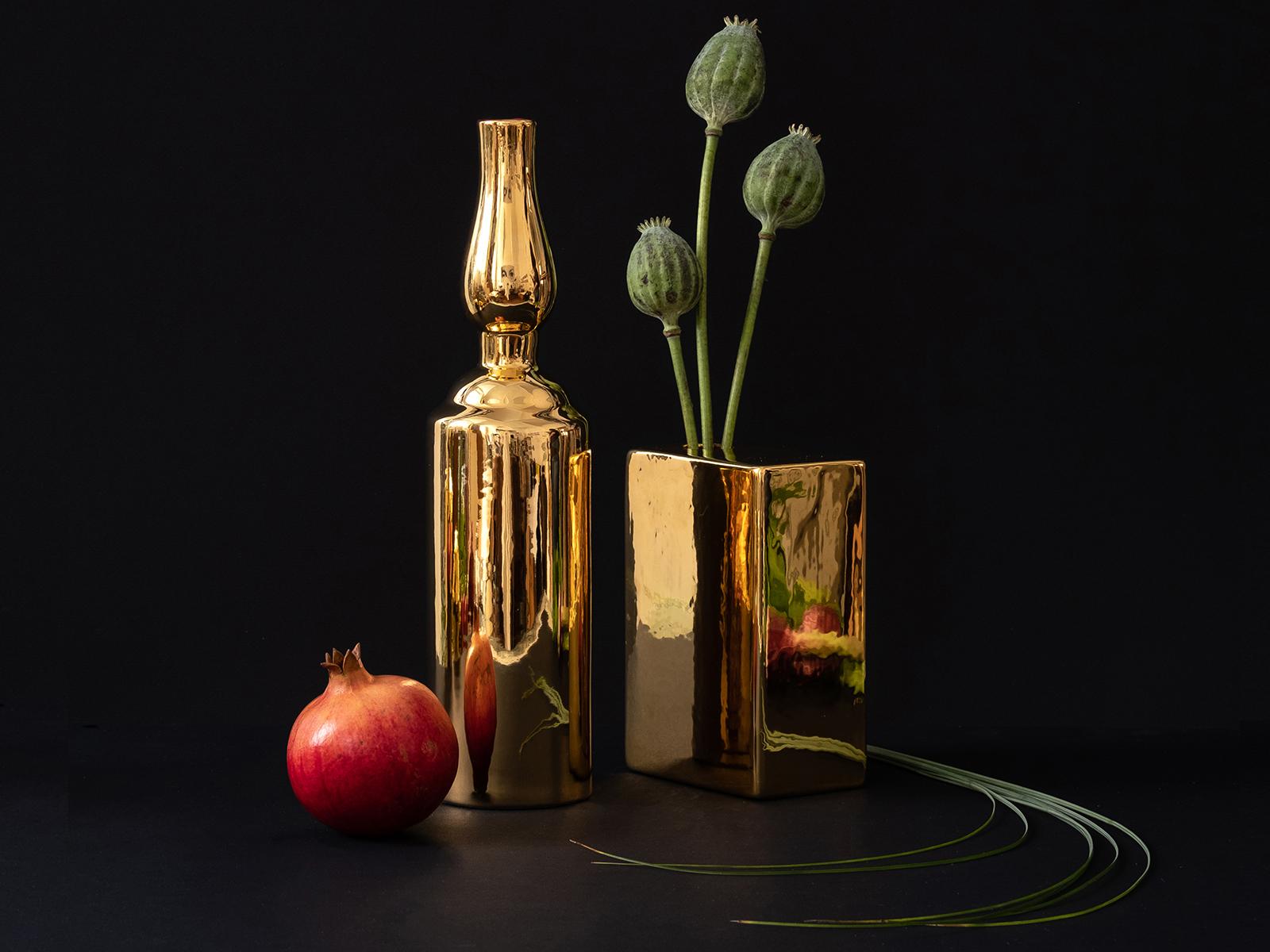 Gold ceramic vases