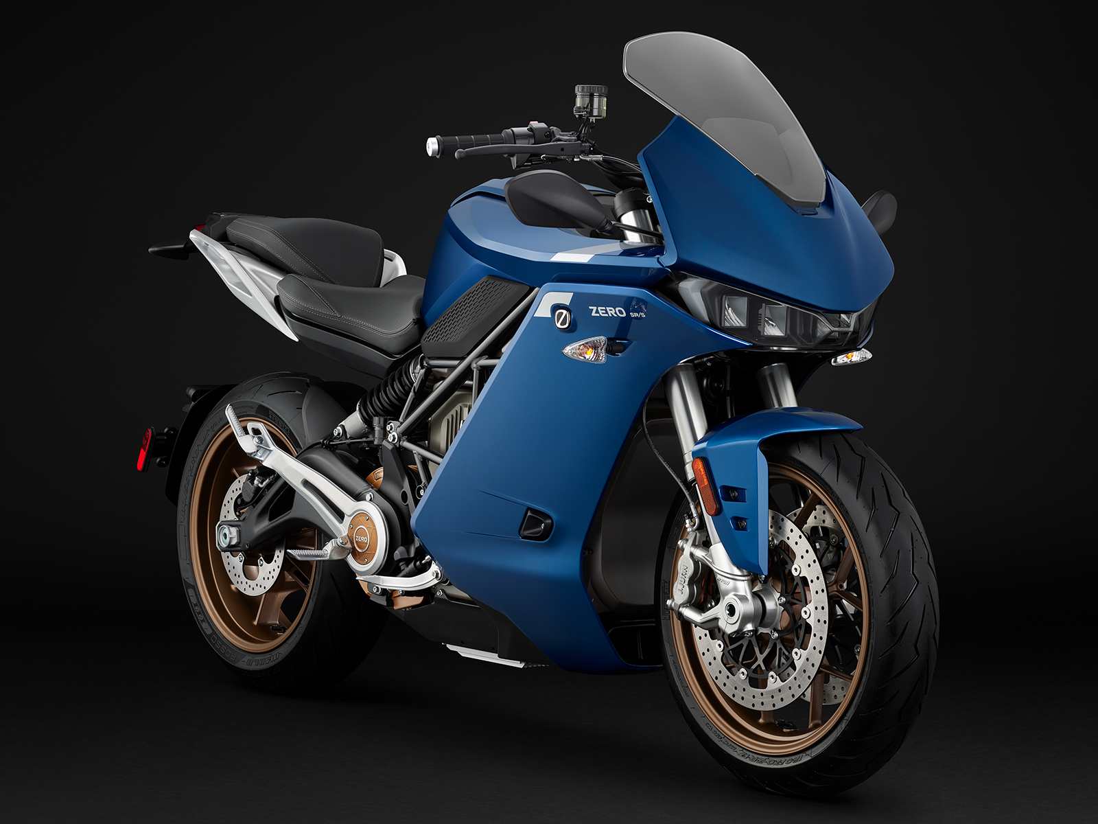 A blue premium Zero SR-S motorcycle