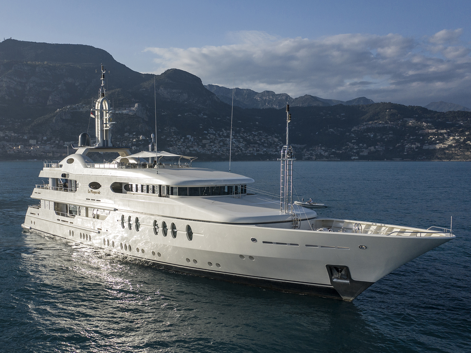 The exterior of La Masquerade, a superyacht from Cecil-Wright & Partners