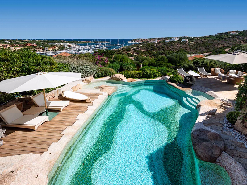 A views over the pool of a villa in Sardinia