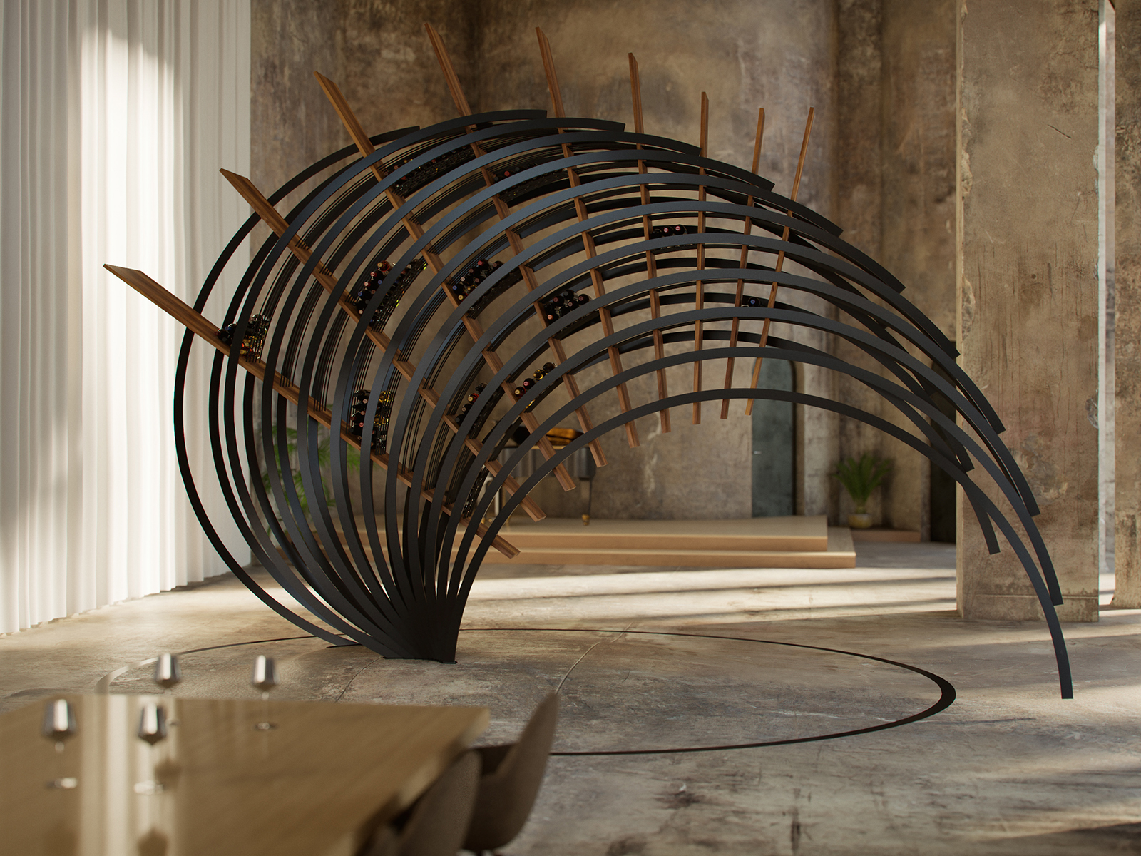 A wave-like geometric wine storage installation