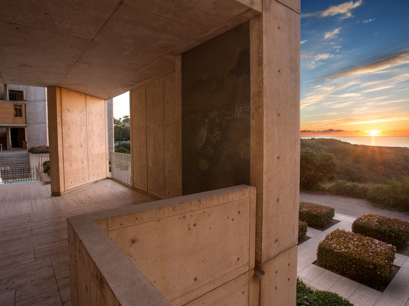 Sunset from a top floor of the Salk Institute